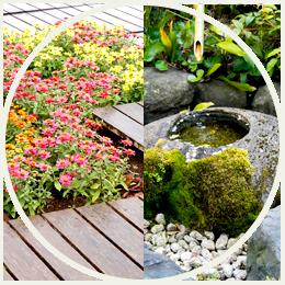 日本庭園と洋風の花壇
